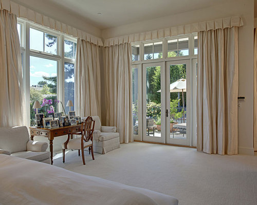 drapes for bedroom. Traditional carpeted bedroom idea in Seattle with beige walls Bedroom Drapes  Houzz