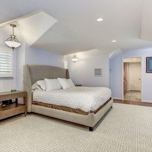 Diseño de dormitorio principal, actual, grande, con paredes azules, suelo de madera en tonos medios y suelo rojo