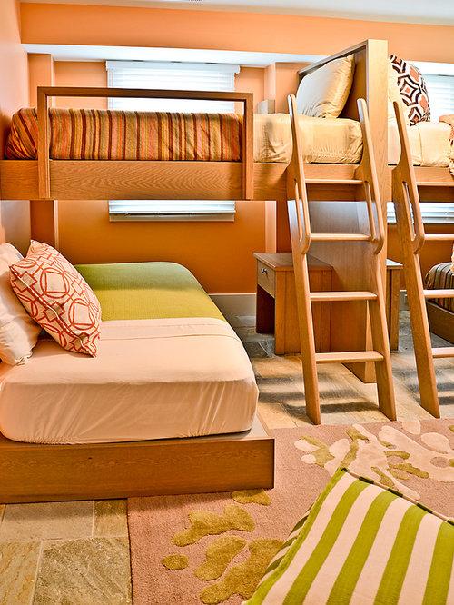 Best Beach Style Bedroom With Orange Walls Design Ideas
