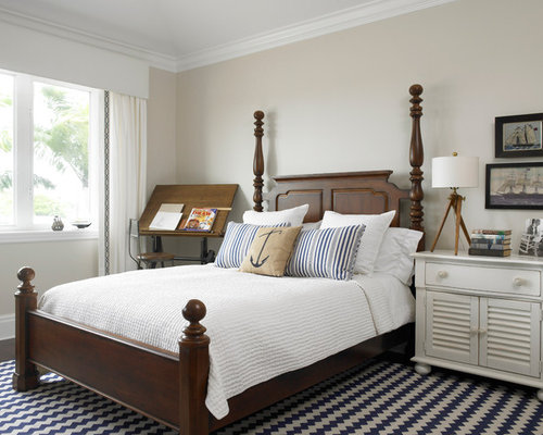 nautical bedroom. Elegant bedroom photo in New York with beige walls Nautical Bedroom  Houzz