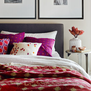 Mid-sized eclectic guest carpeted bedroom photo in San Francisco with white walls