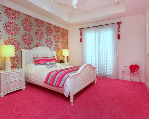 Trendy Carpeted And Pink Floor Bedroom Photo In Tampa With Multicolored  Walls