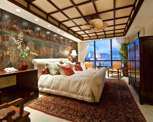 Great Asian Bedroom Photo In Tampa With Beige Walls