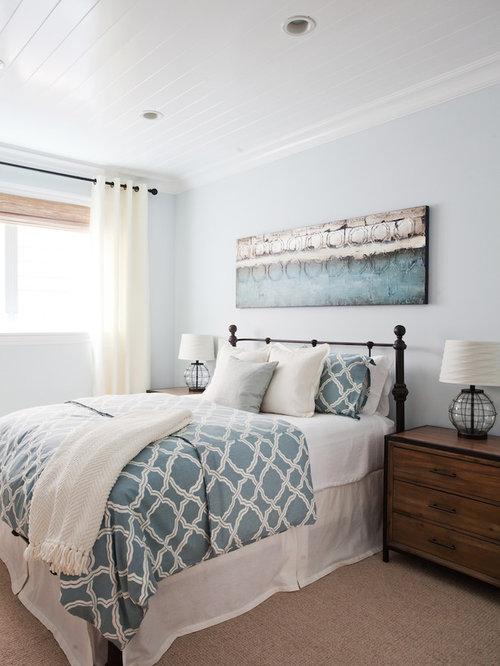 Camera da letto al mare con pareti grigie foto idee - Camera letto mare ...