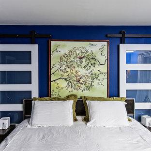 Bedroom - contemporary master bedroom idea in Charleston with blue walls