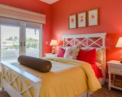 Camera da letto al mare con pareti arancioni - Foto e Idee per ...