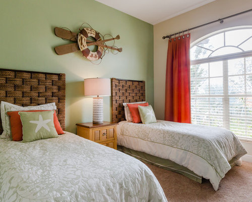 beach bedroom. Inspiration for a beach style guest carpeted and beige floor bedroom  remodel in Miami with green Best 30 Beach Style Bedroom Ideas Decoration Pictures Houzz