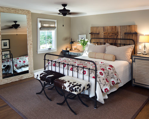 Farmhouse master bedroom idea in San Diego with brown walls. Wrought Iron Bedroom Bench   Houzz