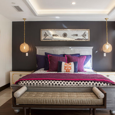 Bedroom - contemporary guest bedroom idea in Miami with gray walls and no fireplace