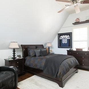 Bedroom - large transitional guest medium tone wood floor and brown floor bedroom idea in Dallas. Save Photo. College Student Bedroom & College Student Bedroom Ideas And Photos | Houzz
