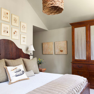 Bedroom - rustic carpeted bedroom idea in Other with gray walls
