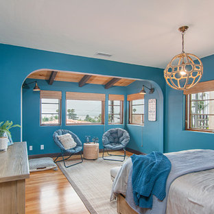 Inspiration for a beach style medium tone wood floor bedroom remodel in San Diego with blue walls and no fireplace