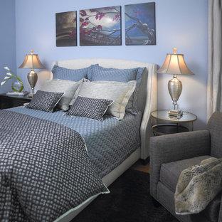Idee per una piccola camera matrimoniale design con pareti blu, pavimento in legno massello medio e nessun camino
