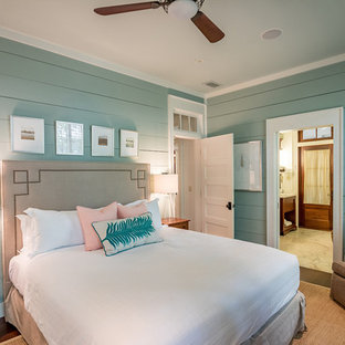Inspiration For A Beach Style Master Bedroom Remodel In Atlanta With Green  Walls