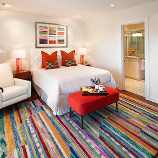 Mid-sized elegant guest dark wood floor bedroom photo in Santa Barbara with white walls and no fireplace