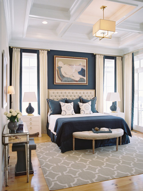 example of a transitional bedroom design in other with blue walls and medium tone hardwood floors. Interior Design Ideas. Home Design Ideas