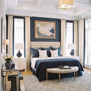 Example of a transitional medium tone wood floor bedroom design in Other with blue walls