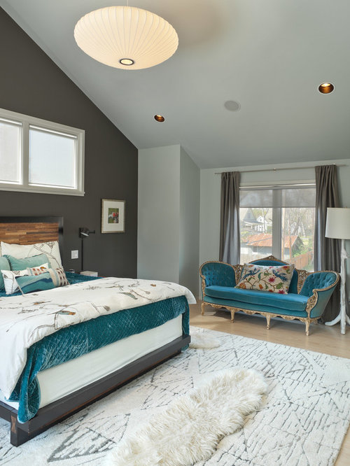 houzz grey and teal bedroom design ideas remodel pictures. Black Bedroom Furniture Sets. Home Design Ideas