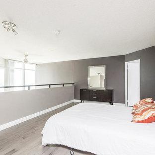 Diseño de dormitorio tipo loft, actual, de tamaño medio, sin chimenea, con paredes grises, suelo vinílico y suelo gris