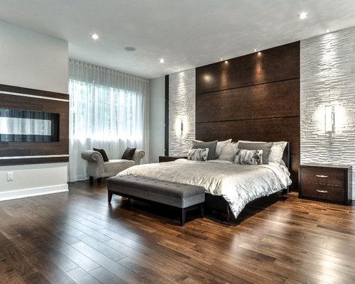 Chambre moderne avec un manteau de cheminée en bois : Photos et ...