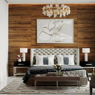 На фото: гостевые спальни среднего размера в современном стиле с коричневыми стенами, полом из керамогранита и белым полом