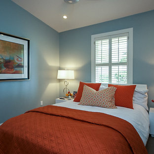 Inspiration for a contemporary bedroom remodel in Jacksonville with blue walls