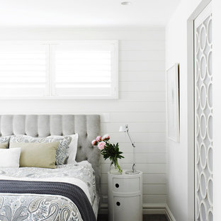 Bedroom - contemporary carpeted bedroom idea in Sydney with white walls