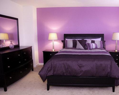 Medium sized purple bedroom design ideas renovations photos - Medium size bed room design in red ...