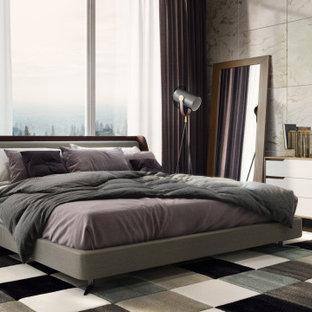 他の地域の中くらいのコンテンポラリースタイルのおしゃれな主寝室 (茶色い壁、濃色無垢フローリング、グレーの床、板張り天井、レンガ壁) のレイアウト