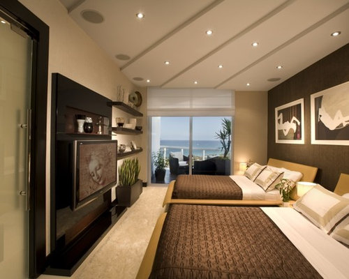 Inspiration For A Contemporary Guest Bedroom In Miami With Grey Walls And  No Fireplace.