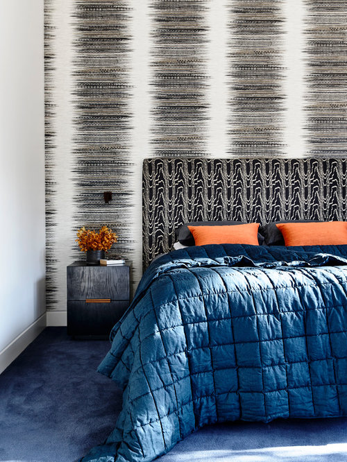 Photo of an expansive contemporary bedroom in Melbourne with multi coloured  walls  carpet and. Blue Carpet  Ideas   Photos