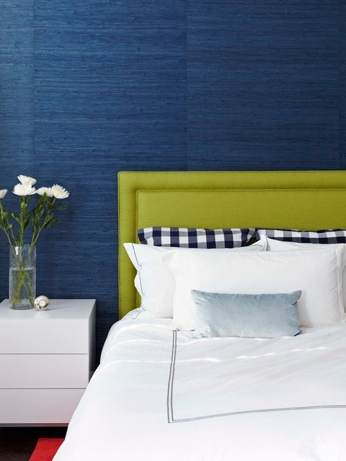 Example of a trendy bedroom design in Toronto with blue walls. Blue Wallpaper   Houzz