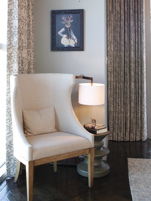 bedroom reading chair. Contemporary master dark wood floor bedroom idea in Austin with white walls Comfortable Bedroom Reading Chair  Houzz