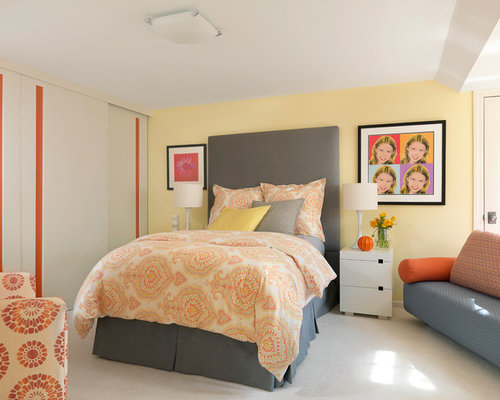Inspiration for a contemporary carpeted and gray floor bedroom remodel in  St Louis with yellow walls. Orange Yellow And Gray   Houzz