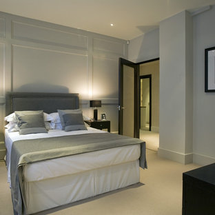 Inspiration for a contemporary bedroom remodel in DC Metro with gray walls