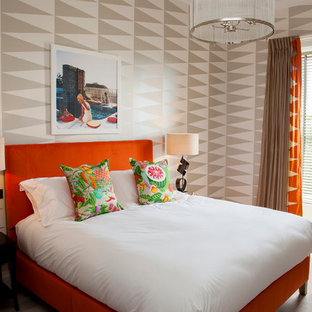 Bedroom - contemporary carpeted bedroom idea in Other with multicolored walls