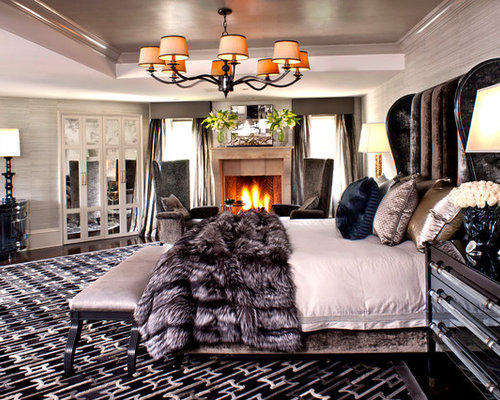 Bedroom furniture names - Trendy Bedroom Photo In Los Angeles With Gray Walls And A Standard