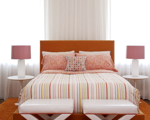 SaveEmail  Contemporary Bedroom. Pink Orange Design Ideas   Remodel Pictures   Houzz