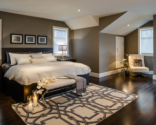Trendy master bedroom photo in Vancouver with gray walls and dark hardwood  floors. Espresso Bedroom   Houzz