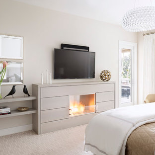 Bedroom - mid-sized contemporary master carpeted bedroom idea in Miami with white walls, a wood fireplace surround and a standard fireplace