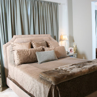Inspiration For A Large Contemporary Master Carpeted Bedroom Remodel In  Houston With Blue Walls