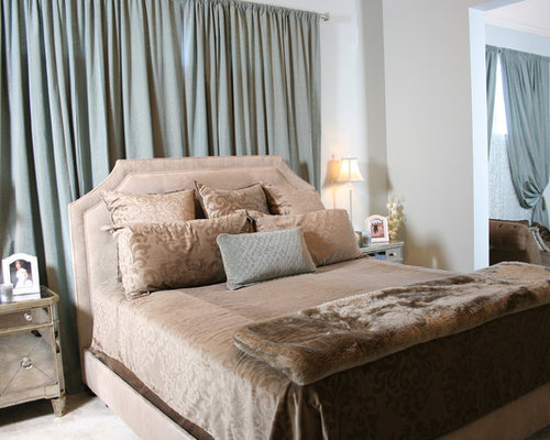 Drape behind bed houzz for Bedroom curtains and bedding