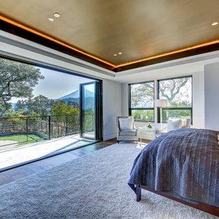 Modelo de dormitorio principal, contemporáneo, extra grande, con paredes blancas y suelo de madera oscura
