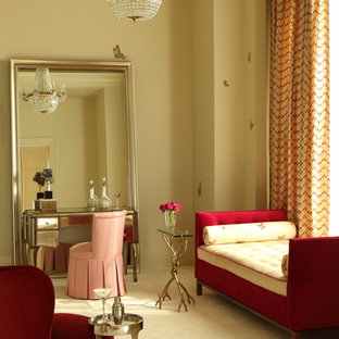 Inspiration for a contemporary bedroom in Other with beige walls, carpet and yellow floor.