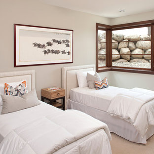 Example of a trendy guest carpeted bedroom design in Minneapolis with gray walls