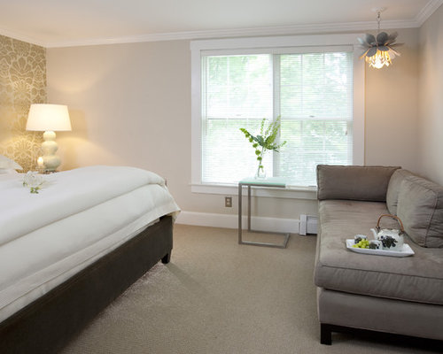 Great Contemporary Carpeted Bedroom Idea In Boston With Beige Walls