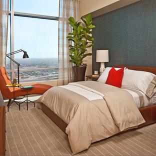 Bedroom - contemporary carpeted bedroom idea in Los Angeles with gray walls