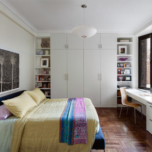 This is an example of a contemporary bedroom in New York.