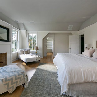 Example of a large trendy master light wood floor bedroom design in New York with white walls, a standard fireplace and a plaster fireplace