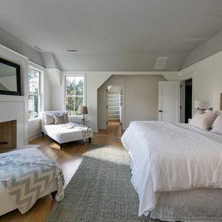 Foto di una grande camera matrimoniale design con pareti bianche, parquet chiaro, camino classico e cornice del camino in intonaco
